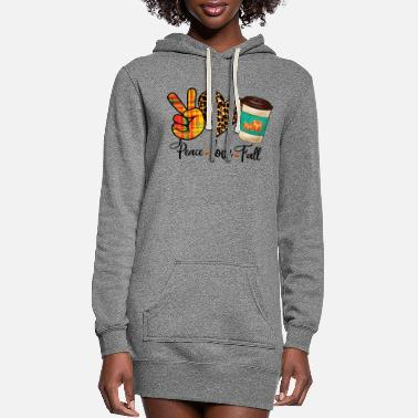 Pretty Peace, Love, Fall Leopard Pumpkin Spice Latte - Women's Hoodie Dress