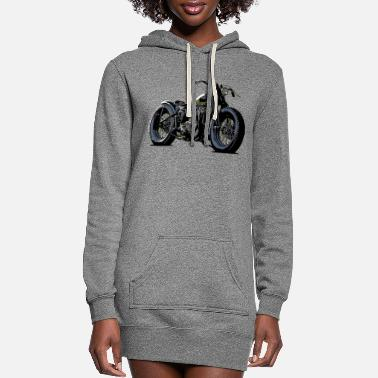 Old School Vintage motorcycle sketch in black - Women's Hoodie Dress