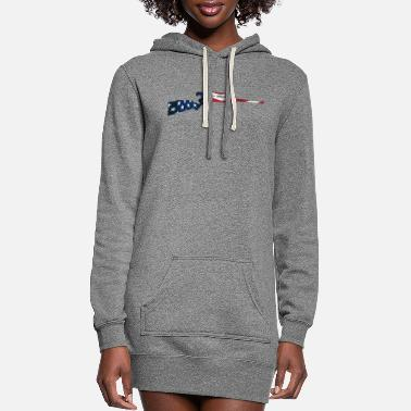 Bolt-action Rifles Patriotic Hunting Rifle with USA Flag Overlay - Women's Hoodie Dress