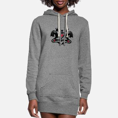 Shield Valentine dragon heart love forever - Women's Hoodie Dress