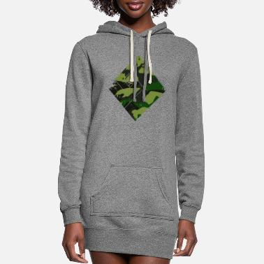 Super Square camouflage pattern green - Women's Hoodie Dress