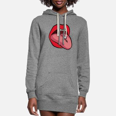 Tongue TONGUE PIERCING - Women's Hoodie Dress