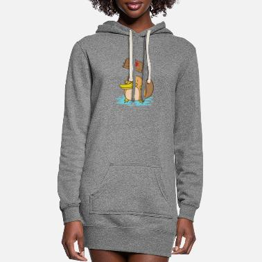 Mammal Platypus with heart Love Demo - Women's Hoodie Dress
