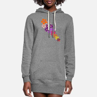 Tendril Pattern colorful flowers tendril, blooming flower, blooms - Women's Hoodie Dress