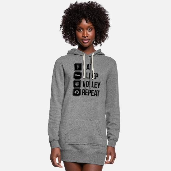 Volley Hoodies & Sweatshirts - eat sleep volley repeat - Women's Hoodie Dress heather gray