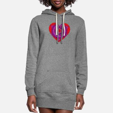 Couple Marriage Spiritual Heart mandala design gift idea for Valentine's Day - Women's Hoodie Dress