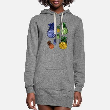 Color Pineapple graphic fruit art - Women's Hoodie Dress