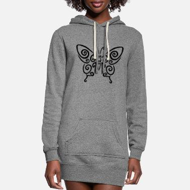 Coat Of Arms Black spiral butterfly - Women's Hoodie Dress