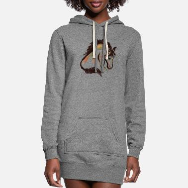 horse head painting art | horse head t-shirt - Women's Hoodie Dress