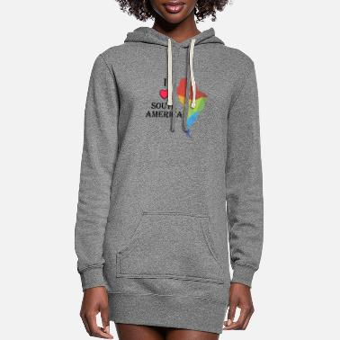 Africa I Love South America with Heart and Colorful logo - Women's Hoodie Dress