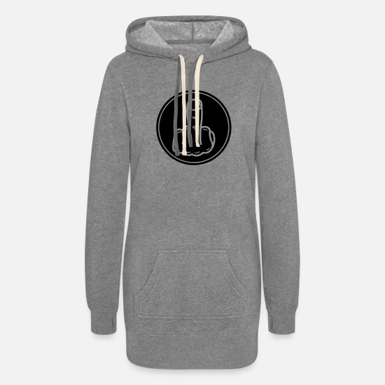 Finger Hoodies & Sweatshirts - Inverted middle finger black - Women's Hoodie Dress heather gray