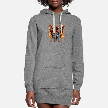 Rose bear angry face head - Women's Hoodie Dress