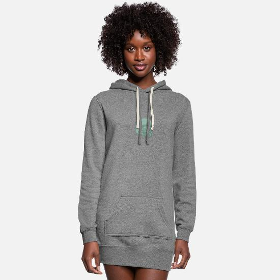 Isolated Hoodies & Sweatshirts - Football Quarterback Skull Drawing - Women's Hoodie Dress heather gray