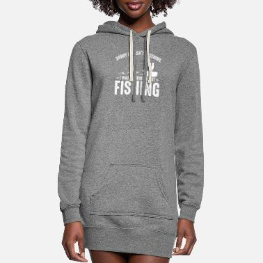 Turn On I Was Thinking About Fishing Angling Fisher Funny - Women's Hoodie Dress