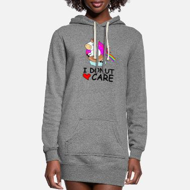 Care I donut care white unicorn rainbow - Women's Hoodie Dress