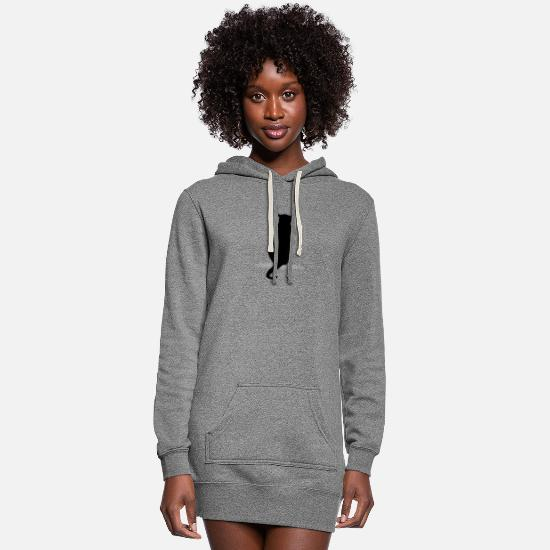 Cat Hoodies & Sweatshirts - Cat silhouette silhouettes - Women's Hoodie Dress heather gray