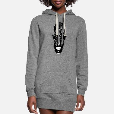 Strange Strange African mask and tattoos - Women's Hoodie Dress