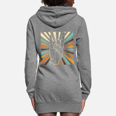 Electro Vintage rock and roll hand - Women's Hoodie Dress