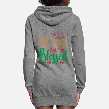 Pattern Hot Mess But I'm Blessed - Christmas - Women's Hoodie Dress