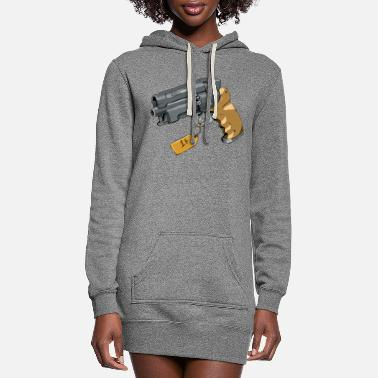Fiction Old School Vintage Retro Gun - Women's Hoodie Dress