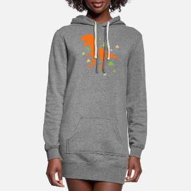 Shamrock Lucky Orange Dinosaur St Patrick's Day Clover - Women's Hoodie Dress