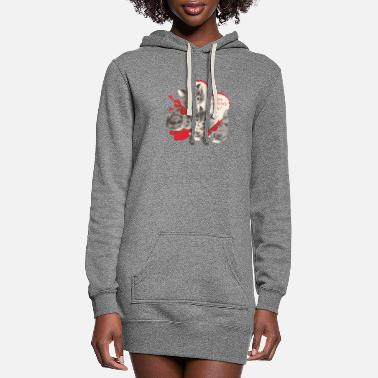 VALENTINES DAY KITTENS RED BOW & HEARTS - Women's Hoodie Dress