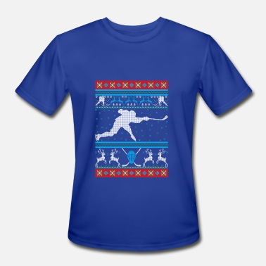 Ugly-holiday-sweater Hockey Ugly Christmas Sweater Holiday T-Shirt - Men's Moisture Wicking Performance T-Shirt