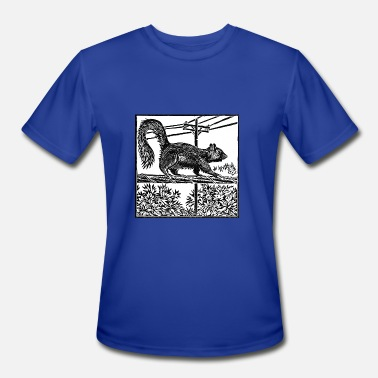 Telephone Pole Squirrel Linocut - Men's Moisture Wicking Performance T-Shirt