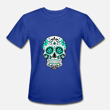 Red White And Blue Skulls Decorative white skull, aqua blue - Men's Moisture Wicking Performance T-Shirt