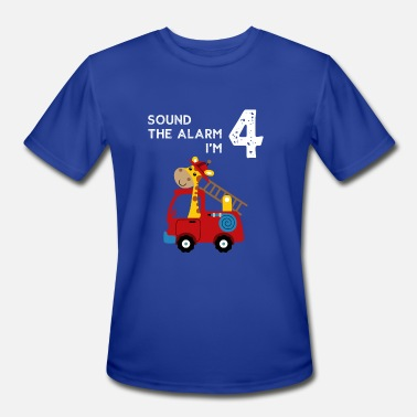 Alarm Kids Funny Sound The Alarm I'm 4 Funny Firefighter Kid Tshirt - Men's Moisture Wicking Performance T-Shirt