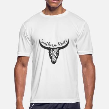 Cow Skull Country Southern Roots Country Design Cattle Cow Skull With Flowers - Men's Moisture Wicking Performance T-Shirt