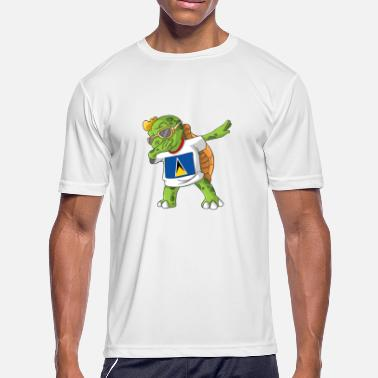 Saint Lucia Saint Lucia Dabbing Turtle - Men's Moisture Wicking Performance T-Shirt