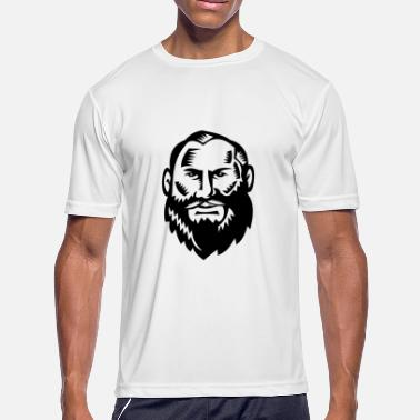 Beards Males Male Big Beard Woodcut - Men's Moisture Wicking Performance T-Shirt