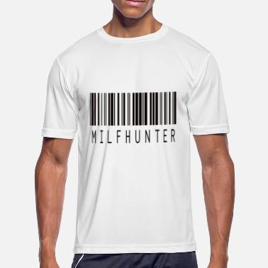 Erotic Quotes MILFHUNTER BARCODE BLACK - Men's Moisture Wicking Performance T-Shirt