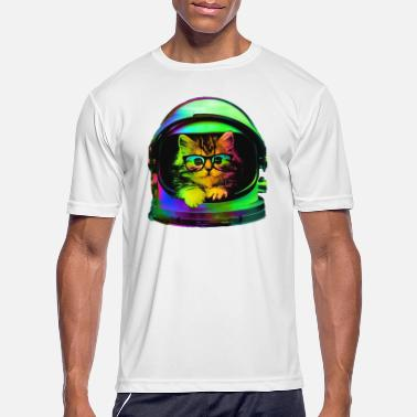 cat spaceman cool neon - Men's Sport T-Shirt
