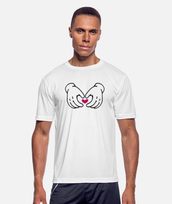Line T-Shirts - Hand Heart - Men's Sport T-Shirt white