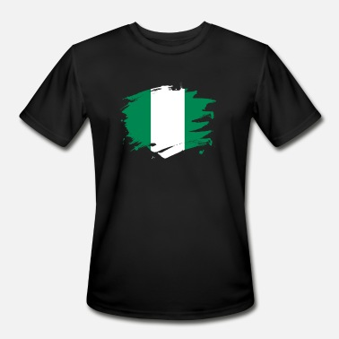 Nigerian Design Nigeria Paint Splatter Flag Nigerian Pride Design - Men's Moisture Wicking Performance T-Shirt