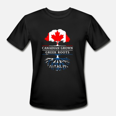 Greece Canadian Grown with Greek Roots Greece Design - Men's Moisture Wicking Performance T-Shirt