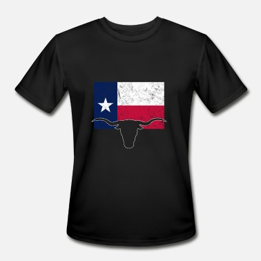 Texas Longhorns Texas Styate Flag Longhorn - Men's Moisture Wicking Performance T-Shirt