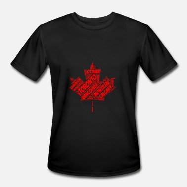 Ottawa Souvenir Canada Maple Leaf Flag with City Names Word Art - Men's Moisture Wicking Performance T-Shirt