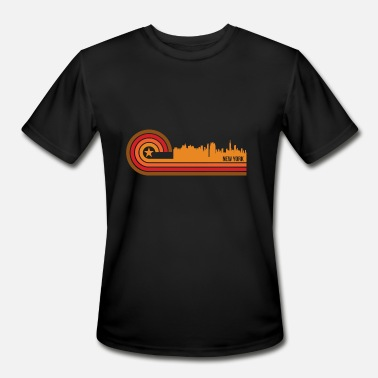 New York City New York Skyline Retro Style New York New York Skyline - Men's Moisture Wicking Performance T-Shirt