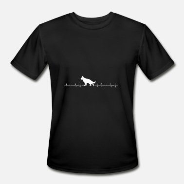 Rottweiler German Shepherd German Shepherd - German Shepherd Heartbeat - Men's Moisture Wicking Performance T-Shirt
