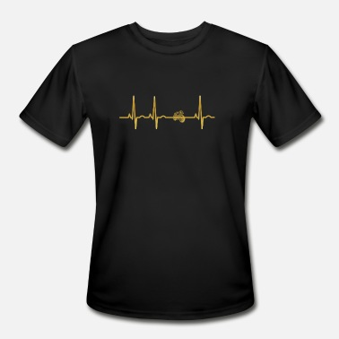 Oldtimer Funny evolution ekg heartbeat Motorrad oldtimer - Men's Moisture Wicking Performance T-Shirt