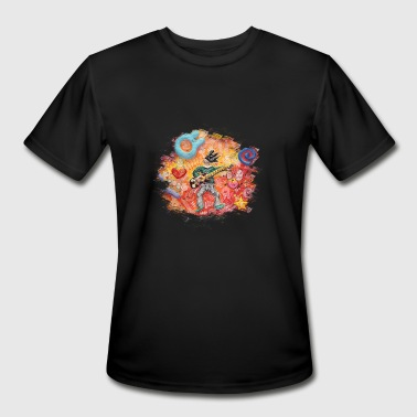 Trippy Long Colorful rock guitar print - Men's Moisture Wicking Performance T-Shirt