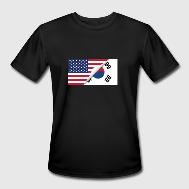 Half Korean Half American Half South Korean Flag - Men's Moisture Wicking Performance T-Shirt