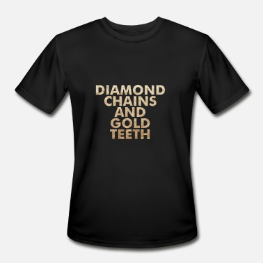 Gold Teeth Diamond Chains and Gold Teeth - Men's Moisture Wicking Performance T-Shirt