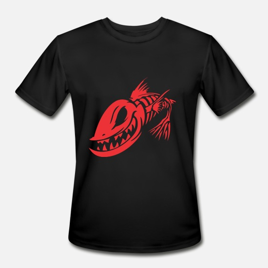 Fish Hook T-Shirts - broom broom fish spines - Men's Sport T-Shirt black