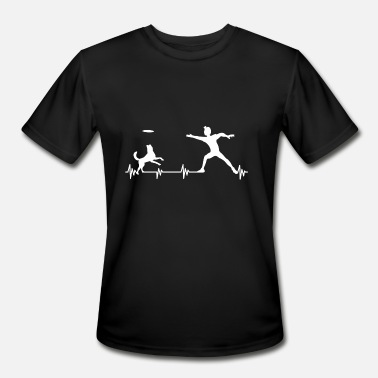 Dog Frisbee Heartbeat Dog Frequency Frisbee Shirt Gift Idea - Men's Moisture Wicking Performance T-Shirt