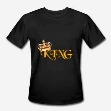 Lettering Crown GOLD KING CROWN WITH YELLOW LETTERING - Men's Moisture Wicking Performance T-Shirt