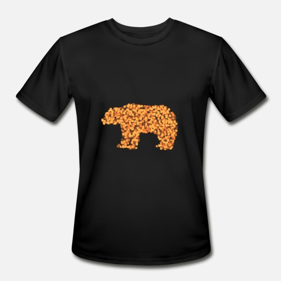 October T-Shirts - Autumn leaves BEAR - Men's Sport T-Shirt black